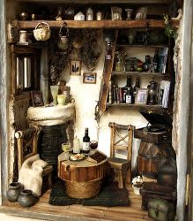The Cottage with an old Vinyl records, turntables by dollhouseara