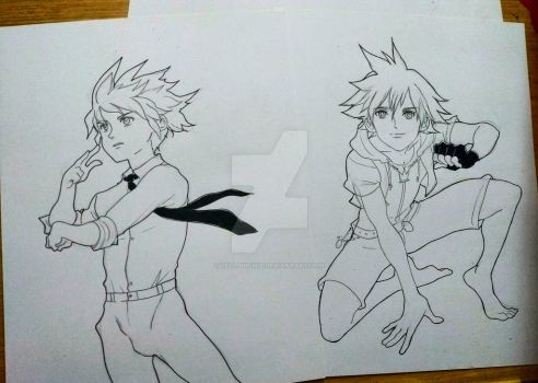 sketches Sora - kingdom hearts  by zelldinchit