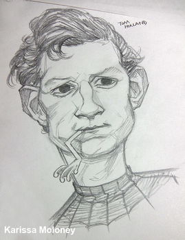 Spiderman's Tom Holland and Dave the frog by Karisean