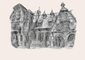 Pinocchio Village Haus Sketch by TomBromley