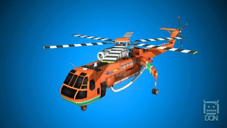 S-64F Skycrane Low Poly Model for Game by akosidon