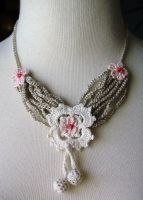 Crochet Silk Boudoir Necklace by meekssandygirl