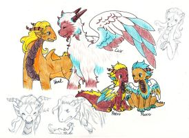 Some more Dragon Sketches by Wollfisch