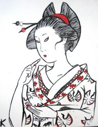 Geisha with Red Accents by katubish