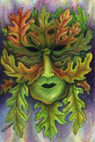 Green Man Smiles by delightedmuse
