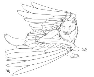 Winged Wolf FREE lineart 2 by Spiritwollf