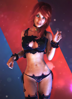 Casey Reed Gen8 with Cat keyhole Lingerie RedAnt by REDANTArts