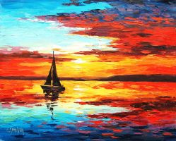 Ocean Sunset by artsaus
