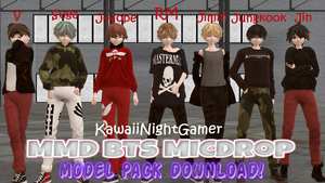 MMD BTS MICDrop Model Pack DL! by KawaiiNightGamer