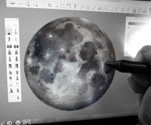 Making a moon by CosmosKitty