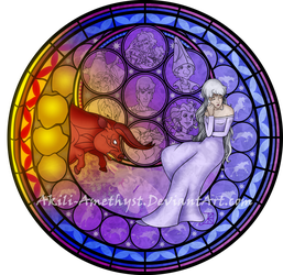 Stained Glass: Amalthea by Akili-Amethyst