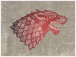 Winter is Coming (Zentangle House Stark) by EuphoriouSin