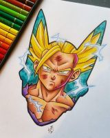 SSJ2 Gohan Cell Saga Tattoo Design by Hamdoggz