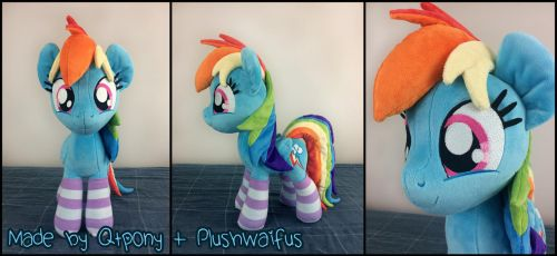 20in standing Rainbow Dash plush by qtpony