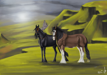 Horses in the Scottisch highlands by xSapience