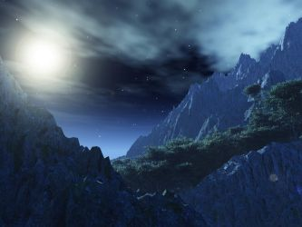 Moonlit Mountain Pass by DarklordIIID