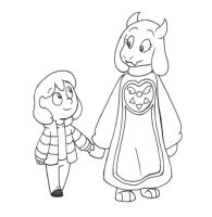 Inktobertale Day 4ish: Meeting Toriel by spud133