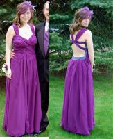 Purple Chiffon Gown by dragonariaes