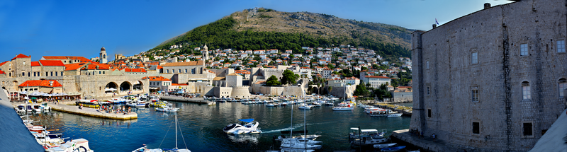 Dubrovnik old harbour Panorama by travelie