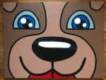happy dog face closeup painting by Scott-A-T-art