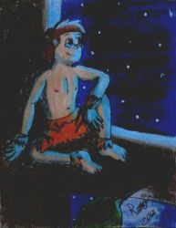 [Traditional/Gift] Jungle Boy watching the Moon by BonnieBunny2