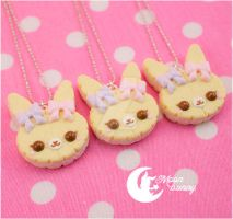 Pastel cookie rabbit Necklace by CuteMoonbunny