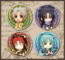 four demons button set by meago