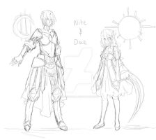 Nite and Dae sketch by Toffee-Tama