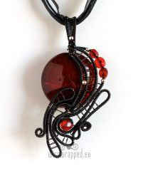 Red and black goth freeform pendant by ukapala