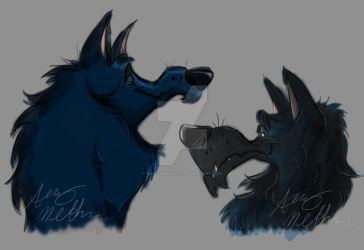 Wolf Heads sketches by Mad--Munchkin