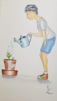 watering plant by loner010