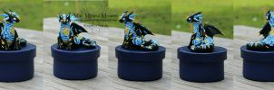 Starry Night Dragon, Atop a Circular Handmade Box by MiniMythicalMonsters