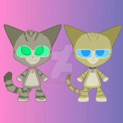 Cat Twins (Clara and Clarence Cat Prints) by Catmaniac8x