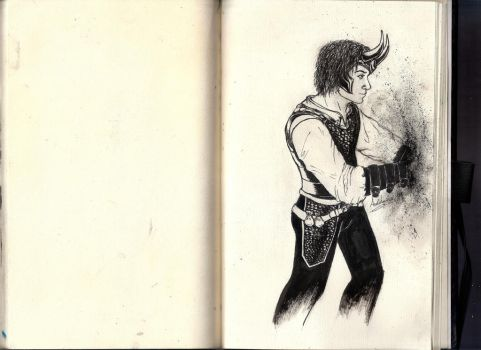 Loki trying to get the fu## out of my sketch book by minihumanoid