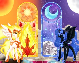 Bronycon 18 Dark Royals in Stained Glass by Beadedwolf22