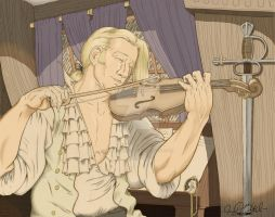 Captain Aubrey and His Fiddle by jessehbechtold