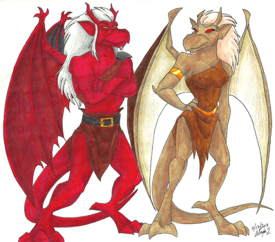 Gargoyles-Titan and Brooke by Stray-Sketches