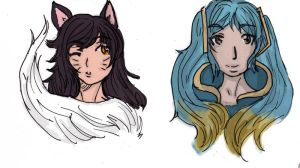 Ahri and Sona heads by DriRose