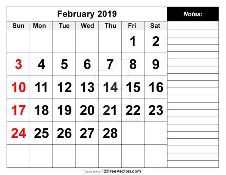 February 2019 Printable Calendar Free Vector by 123freevectors