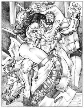 She-Hulk and Hercules commission by Jebriodo