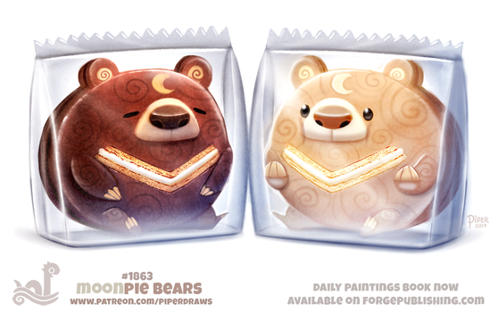 Daily Paint 1863# Moonpie Bears by Cryptid-Creations