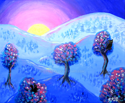 Blue Acrylic Mountain Sunset Landscape Painting by LoVeras