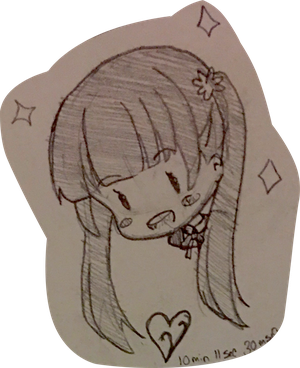 Aoba Suzukaze Chibi Head Sketch Commission Sample by Yasachii