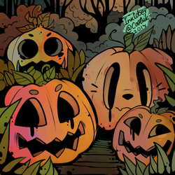 Ink/Goretober Day #2 - Pumpkins by Cootsik