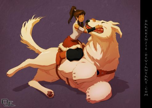 Korra and Naga -colored- by DarkKenjie
