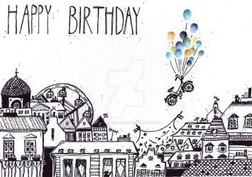 Balloons over Roofs (Birthday Card) by getalittlelostwithme