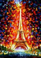 Paris Eiffel Tower by Leonid Afremov by Leonidafremov