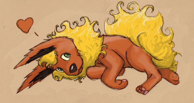 Colored Flareon Sketch by the-sneaky-burger