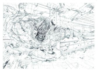 Old Truth and Bone Double Page Spread Pencils by AdeHughesArt