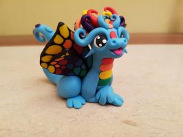 blue butterfly dragon sculpture by claymeeples